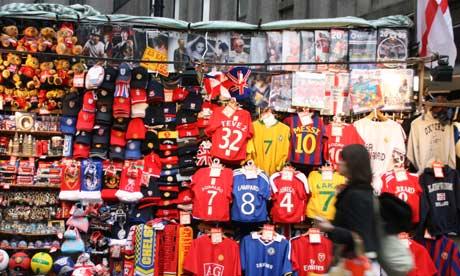 A stall selling football shirts
