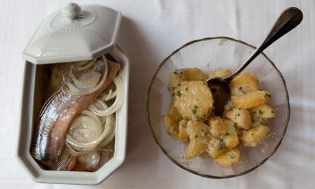 Soused herring and potato salad starters at Chez Georges