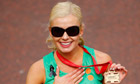 Katherine Jenkins in make-up at the 2013 London Marathon
