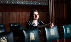 Jo Swinson seated in the House of Parliament