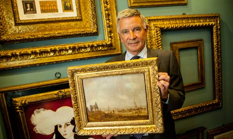 Paul Mitchell with the recovered 17th-century painting by Jan van Goyen