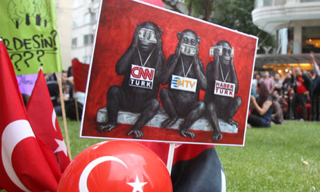 Turkey protests: 'See no evil' banner