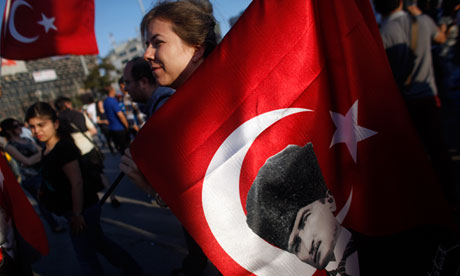 Turkey protester carries  010 Middle East History Turkey
