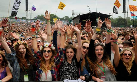 Young people at Glastonbury festival
