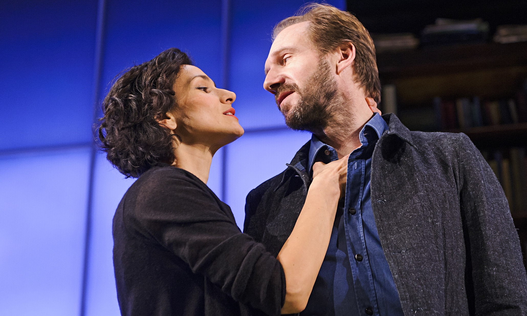 Ralph Fiennes and Indira Varma in the National Theatre's adaptation of Man and Superman