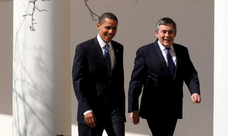 Barack Obama and Gordon Brown walk alongside the White House on Washington on 3 March 2009.