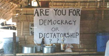 A pro-democracy banner in Burma