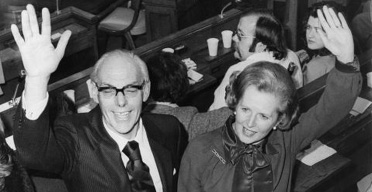 Margaret and Denis Thatcher waving