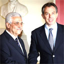Palestinian leader Mahmoud Abbas and Tony Blair