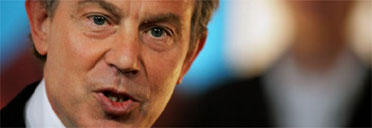 Tony Blair at a Labour poster launch this morning. Photograph: Bruno Vincent/Getty