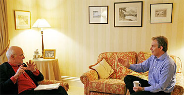 Tony Blair at his constituency home for an interview with Michael White (left) and Patrick Wintour. Photograph: Dan Chung