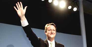 David Cameron celebrates