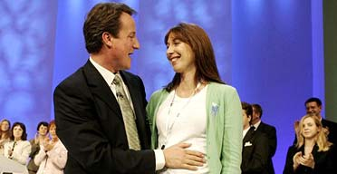 David Cameron and his wife, Samantha