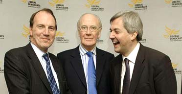 The Lib Dem leadership contenders Simon Hughes, Sir Menzies Campbell and Chris Huhne