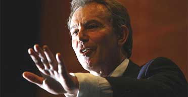 Tony Blair makes his speech to the TUC annual conference in Brighton