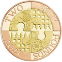 A limited-edition gold £2 coin issued to mark the 300th anniversary of the 1707 Act of Union which united England and Scotland. Photograph: Royal Mint/PA.
