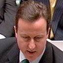 David Cameron with his hair parted to the left at prime minister's questions today. Photograph: PA Wire.