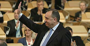 Alex Salmond, the SNP leader, after being voted in as first minister in the Scottish parliament