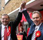Phil Wilson, Labour's candidate for Sedgefield, with Tony Blair, on July 4 2007. Photograph: Owen Humphreys/PA Wire.