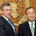 Gordon Brown meets Ban Ki-moon at the United Nations in New York on July 31 2007. Photograph: Mario Tama/Getty Images.