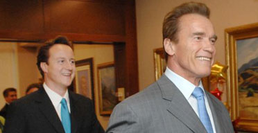 David Cameron with Arnold Schwarzenegger in Sacremento, California, on October 11 2007. Photograph: Stefan Rousseau/PA.