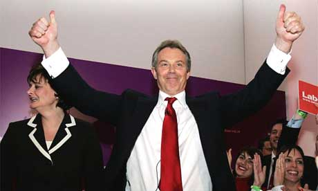 Tony Blair and his wife Cherie, left, celebrate Labour's third term in office at a party at the National Portrait Gallery in central London, Friday May 6, 2005