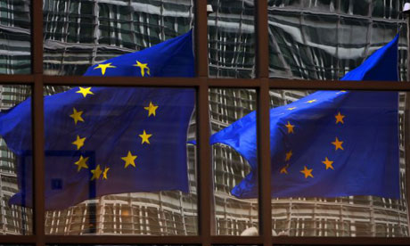 The EU flag reflected in an EU building in Brussels on November 6 2007. Photograph: Dominique Faget/AFP/Getty Images