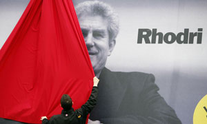 A campaign poster for Rhodri Morgan, the Welsh Labour leader, in 2007. Photograph: Martin Argles