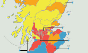 Map of Scotland's political constituencies