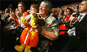 Supporters in the audience applaud Liberal Democrat leader Menzies Campbell's speech on the last day of the Liberal Democrat party conference 2007, in Brighton.