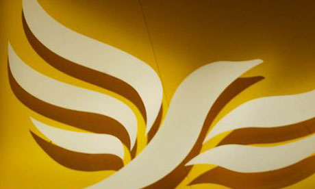 The Liberal Democrat logo, Lib Dem logo, Liberal Democrats logo, at the party's conference in Brighton in 2002. Photograph: Martin Argles