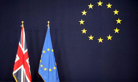 The British and EU flags at the EU council building in Brussels. Photograph: Federico Gambarini/EPA