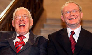 Ian Paisley and Martin McGuinness after being sworn in as first minister and deputy first minister of Northern Ireland respectively in May 2007. Photograph: Paul Faith/pool/EPA