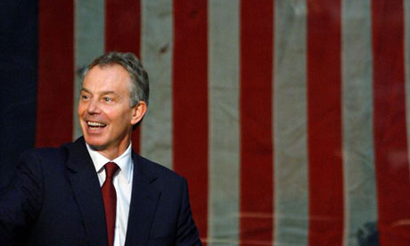 Tony Blair in front of the American flag on November 27 2007. Photograph: Chip Somodevilla/Getty Images