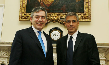 Gordon Brown and George Clooney on April 8 2008