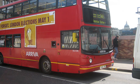 A London bus advertising the London mayoral elections on May 1. Transport has been a key issue in the campaign. Photograph: Paul Owen
