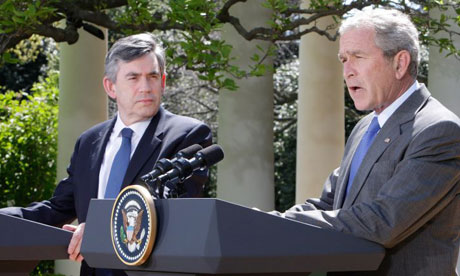 Gordon Brown and George Bush at a joint press conference outside the White House on April 17 2008. Photograph: Ron Edmonds/AP