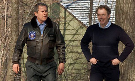 George Bush and Tony Blair at the first meeting, in February 2001. Photograph: Luke Frazza/AFP
