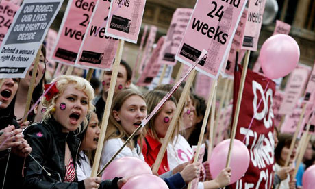Protesters outside the House of Commons on May 20 2008 as MPs prepare to vote on whether to shorton the abortion time limit. Photograph: Cate Gillon/Getty Images
