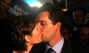 Edward Timpson and his wife, Julia, celebrate victory in the Crewe and Nantwich byelection early in the morning of May 23 2008. Photograph: Anthony Devlin/PA