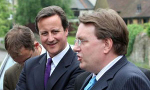 David Cameron and Tory byelection candidate John Howell campaign in Henley on June 6 2008. Photograph: Steve Parsons/PA