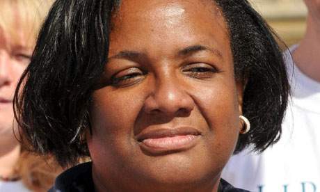 Diane Abbott MP protesting against the increase in the length of time terrorism suspects can be detained without charge on June 10 2008. Photograph: Nils Jorgensen/Rex Features