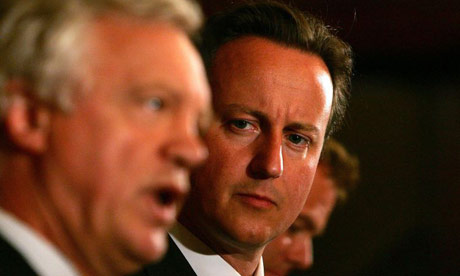 Conservative party leader David Cameron and David Davis