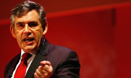 British Prime Minister Gordon Brown addresses the Institute of Directors during the Institute of Directors Annual Convention on April 30, 2008 in London, England