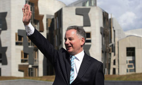 Jack McConnell, the former first minister of Scotland, outside the Scottish parliament building in 2007. Photograph: David Moir/Reuters