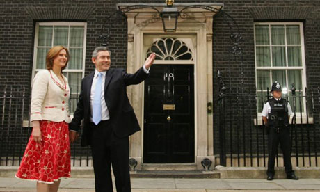 Gordon Brown and his wife, Sarah, outside 10 Downing Street on the day he became prime minister, June 27 2007. Photograph: Daniel Berehulak/Getty Images
