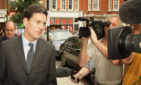 David Miliband faces media cameras as he arrives for a BBC radio interview on July 31 2008. Photograph: Peter Macdiarmid/Getty Images