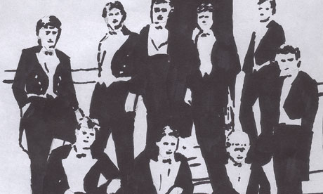 Artist's impression of a photograph showing David Cameron (back row, second left) and Boris Johnson (front row, seated) while members of the Bullingdon Club, an elite Oxford dining group. The photograph can no longer be published. Artwork by Paul Owen