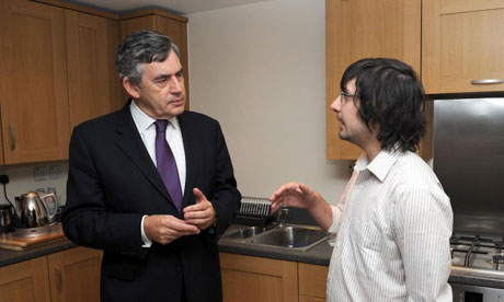 Gordon Brown meets Dominic Bradley, 24, to discuss housing policy in Ealing, west London, on September 2 2008. Photograph: Anthony Devlin/PA Wire