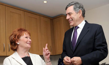 Gordon Brown and Hazel Blears in Ealing, west London, to discuss housing, on September 2 2008. Photograph: Anthony Devlin/PA Wire